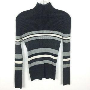 VTG Grunge Gray Striped Knit Mock Neck Sweater M